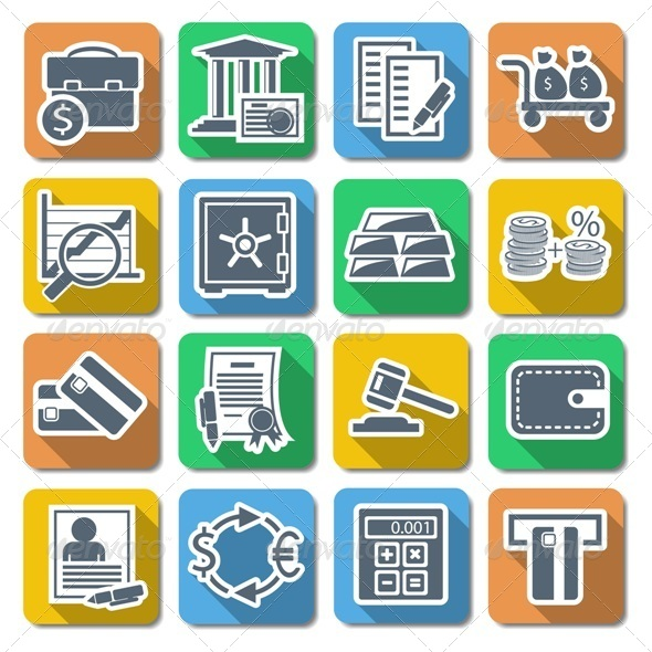 Vector Bank Flat Icons - Business Conceptual
