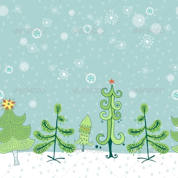 Winter Border with Christmas Trees - Borders Decorative