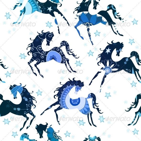 Seamless Pattern with Blue Horses - Patterns Decorative