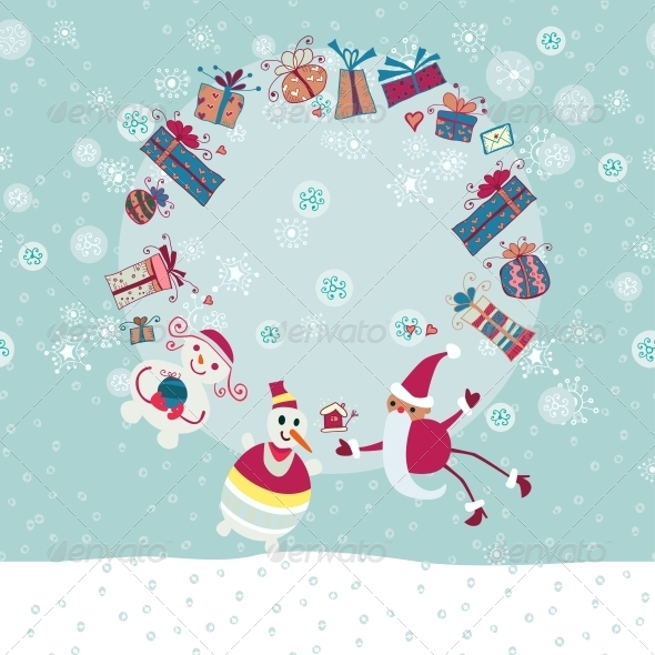 Christmas Circle from Gift Boxes and Santa - Backgrounds Decorative