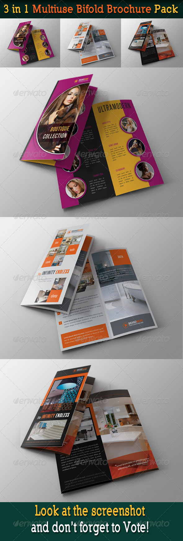 3 in 1 Multiuse Bifold Brochure Pack - Corporate Brochures