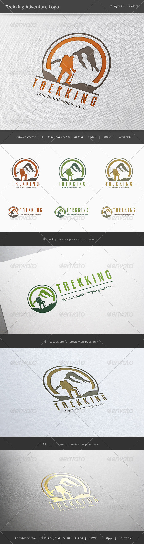 Trekking Adventure Logo - Nature Logo Templates
