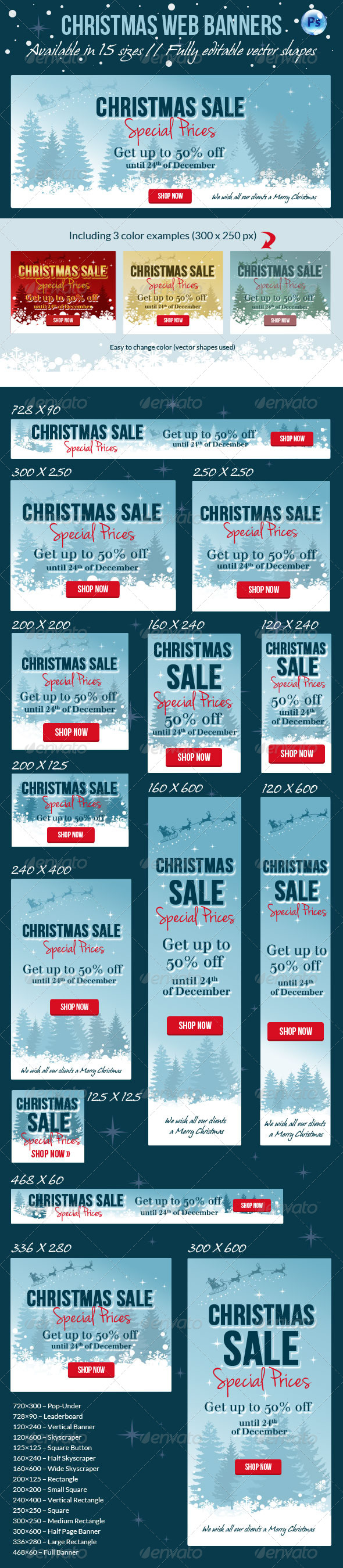Christmas Web Banner - Banners & Ads Web Elements