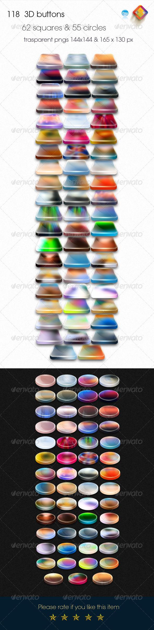 118 Colorful 3D Buttons - Buttons Web Elements