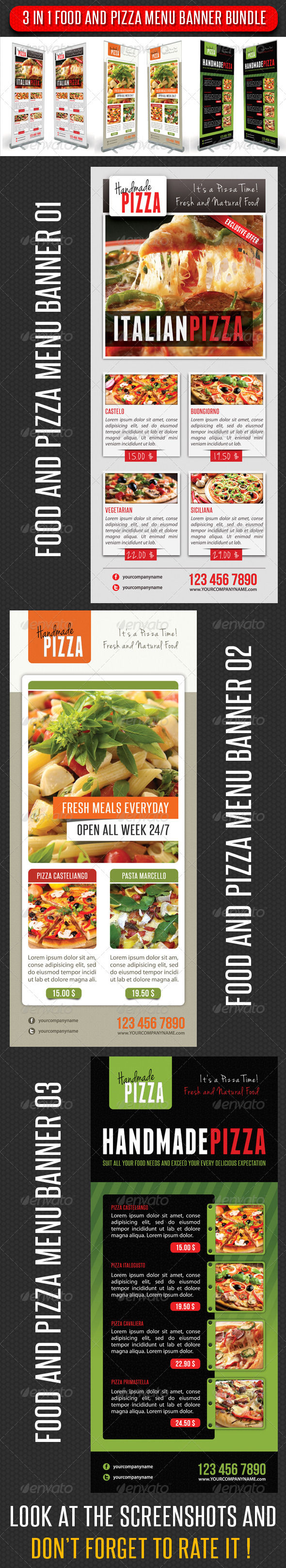 3 in 1 Food And Pizza Menu Banner Bundle 02 - Signage Print Templates