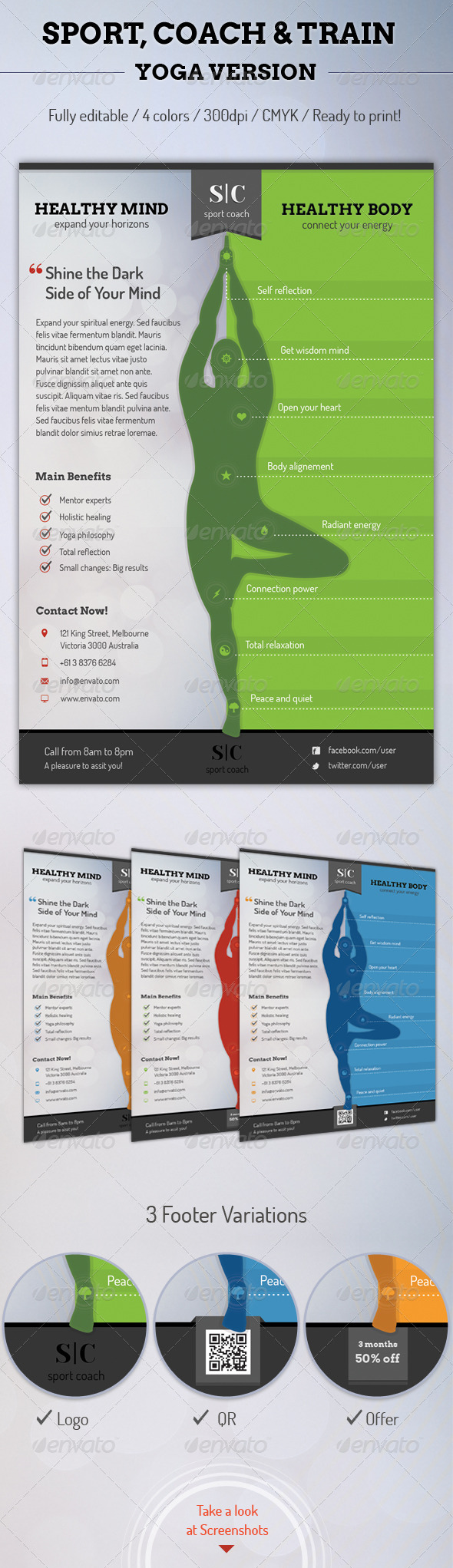 Sport Coach and Train Flyer - Yoga Version - Sports Events