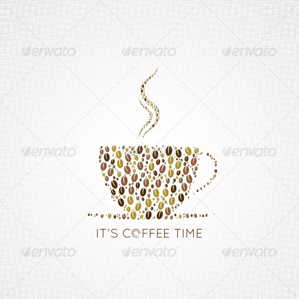 Coffee Cup Beans Design Background - Food Objects