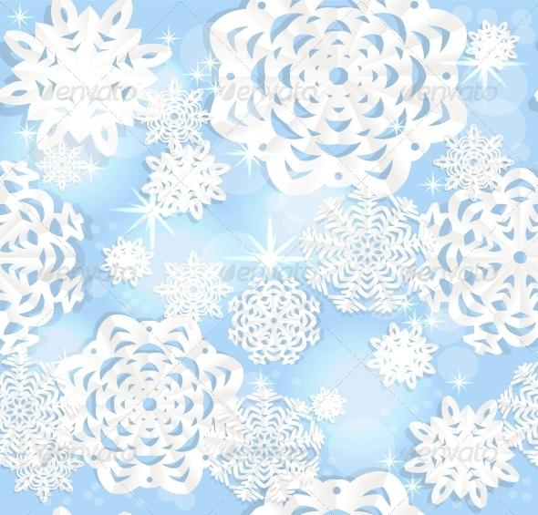 Blue Shining Seamless Christmass Background - Christmas Seasons/Holidays