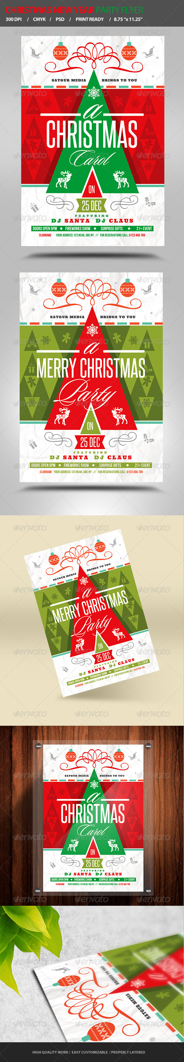 Christmas / New Year Party Flyer - Flyers Print Templates