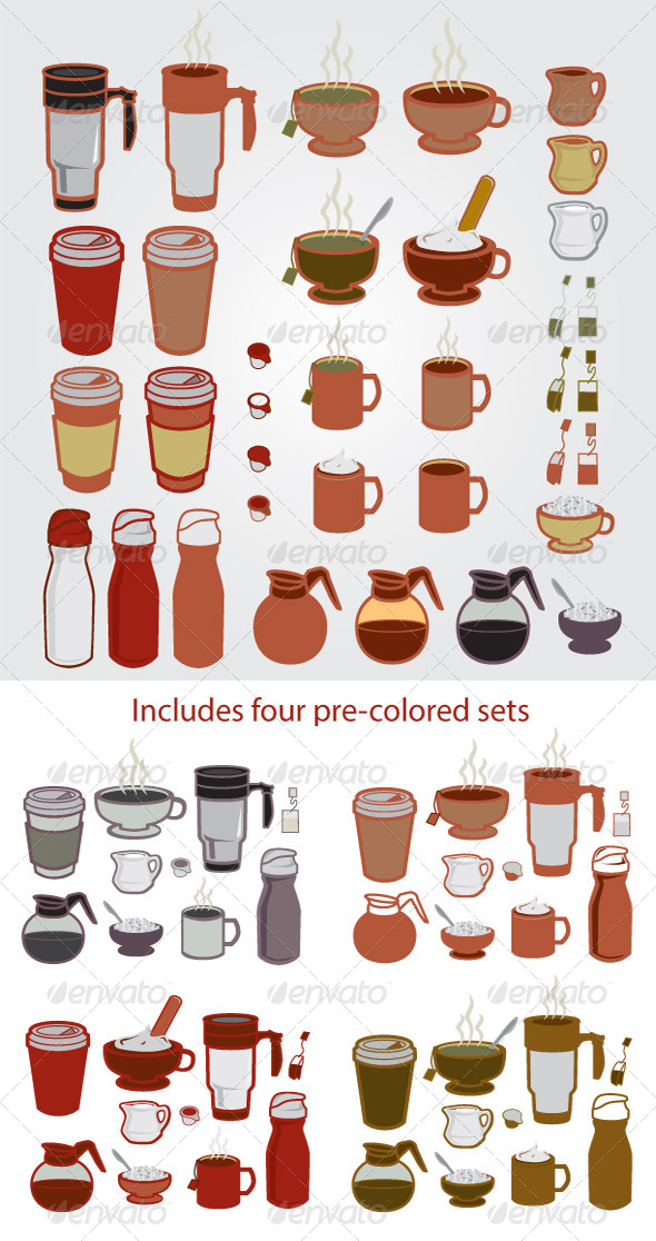 Coffee Tea Designer Set - Food Objects