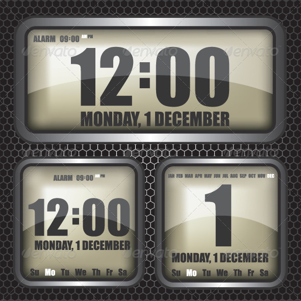 Retro Digital Clock Illustration - Technology Conceptual