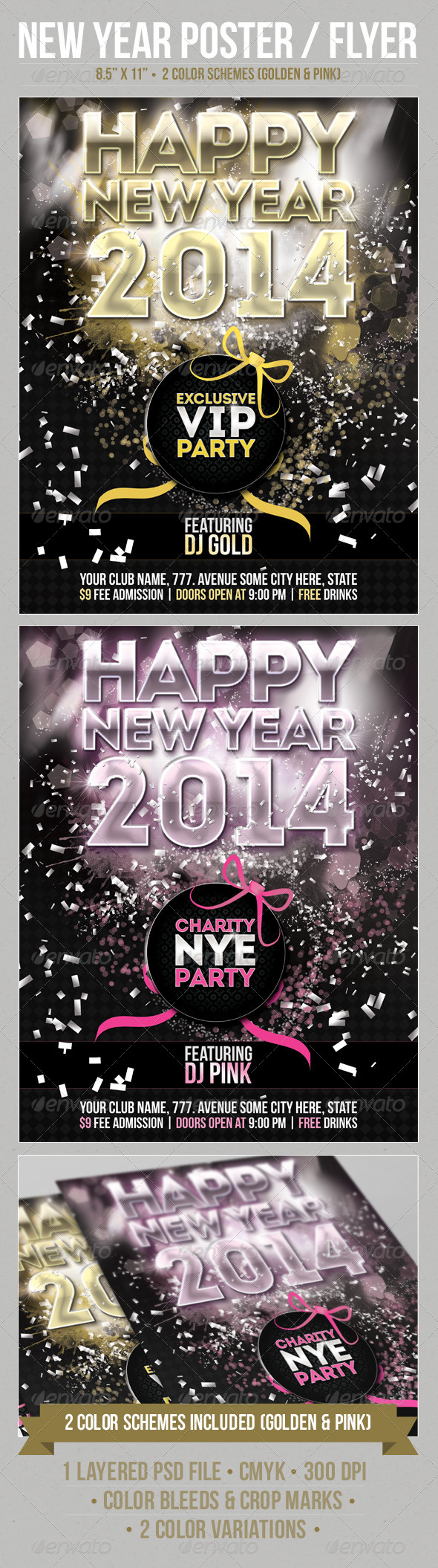 New Year Party Poster Template - Holidays Events