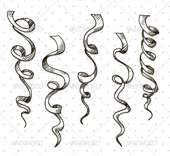 Party Serpentine Ribbons Celebration - Decorative Vectors