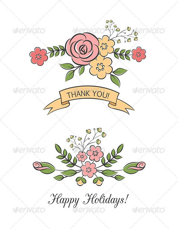 Floral Bouquets With Ribbon - Decorative Vectors