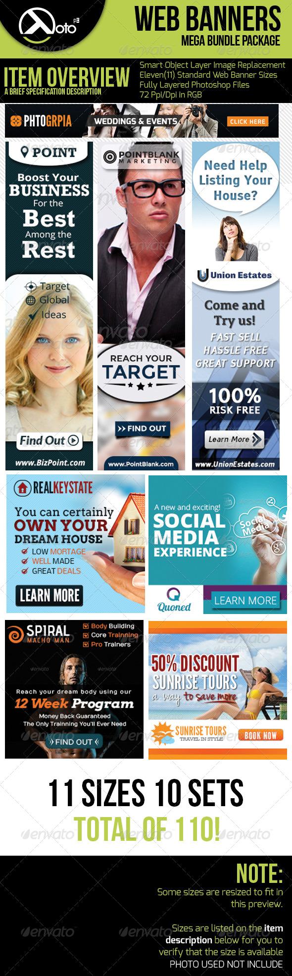 10 Set Mega Bundle Mix Web Banners Vol 2 - Banners & Ads Web Elements