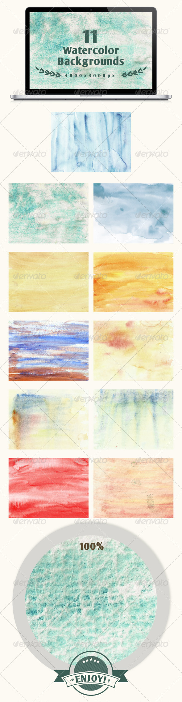 Set of 11 watercolor backgrounds - Backgrounds Decorative