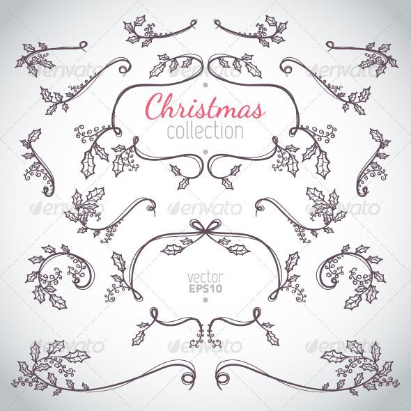 Holly Christmas Elements - Christmas Seasons/Holidays