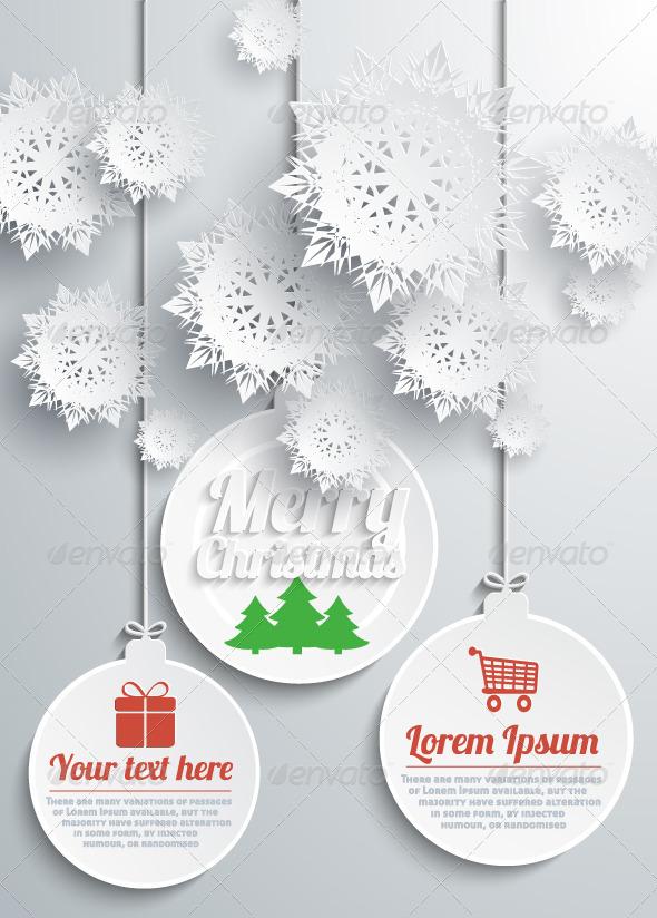 Paper Snowflakes Merry Christmas Text with Balls - Christmas Seasons/Holidays
