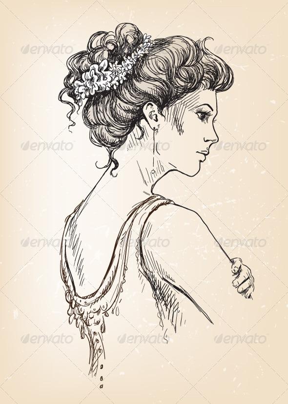 Girl. Bride. Bridal Hair. - People Characters