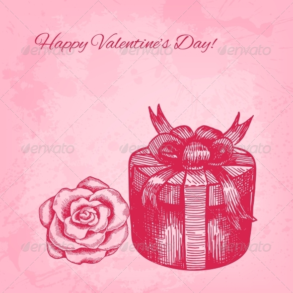 Artistic Vector Valentine Background with Ink Style - Valentines Seasons/Holidays