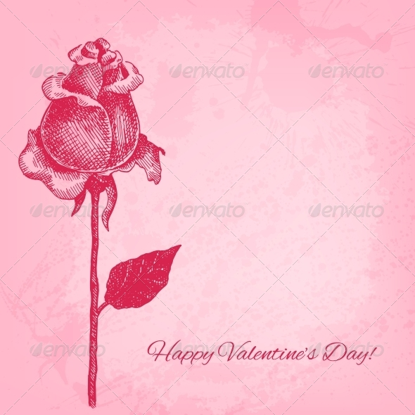 Hand Drawn Rose. Vector Valentine Background - Valentines Seasons/Holidays