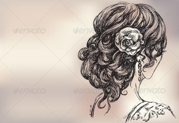 Vector Drawing of a Girl, Bridal Hair - Weddings Seasons/Holidays