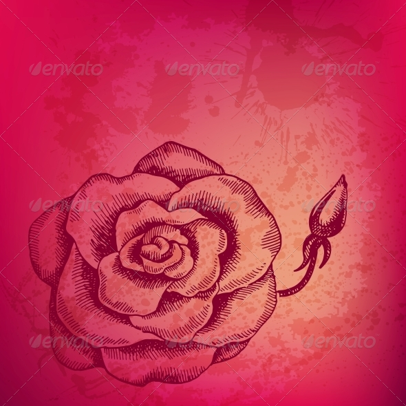 Artistic Vector Background with Ink Style Hand Drawn - Valentines Seasons/Holidays