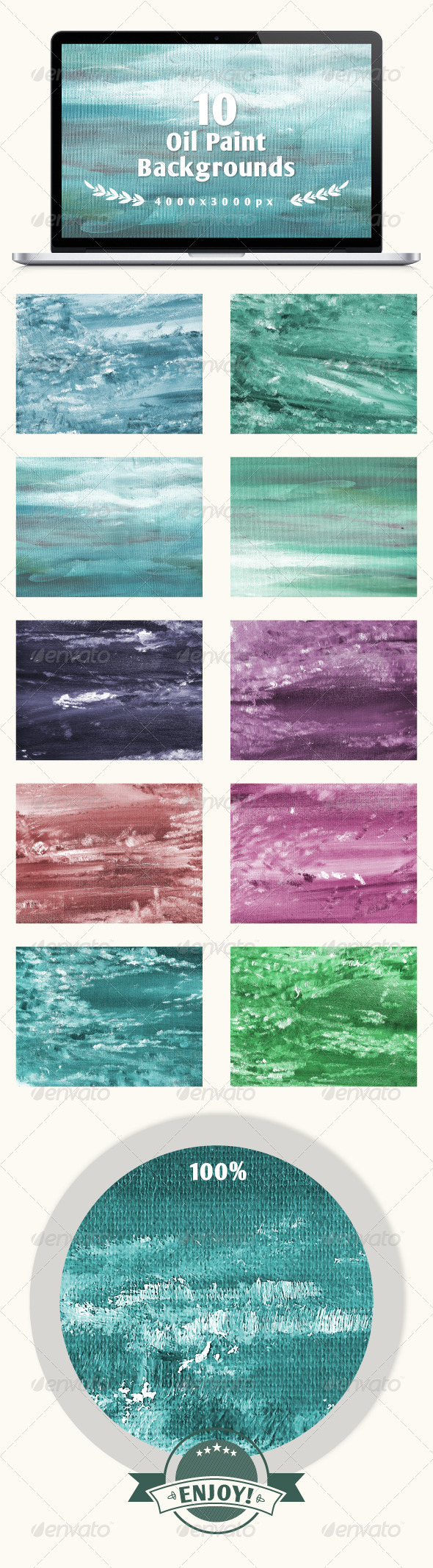 Set of 10 Oil Painted Backgrounds - Abstract Backgrounds