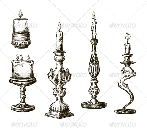 6 Hand Drawn Candles. Retro Candlesticks. - Decorative Vectors