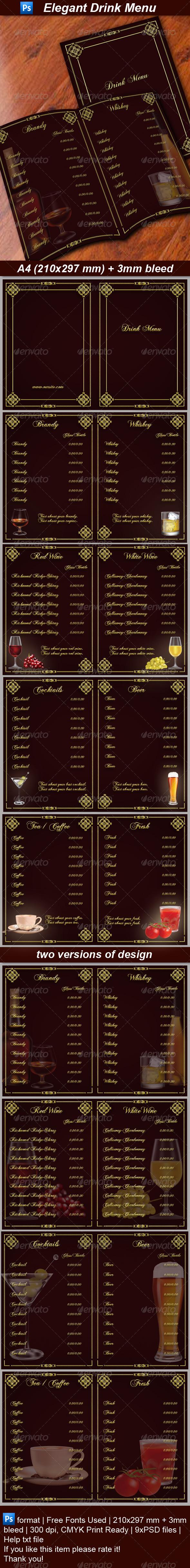 Drink Menu - Food Menus Print Templates