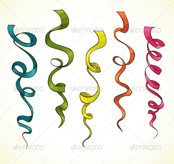 Party Serpentine. Ribbons. Celebration. Vector - Decorative Vectors