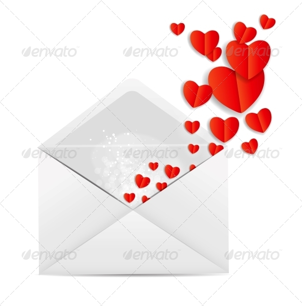 Valentine`s Day Card with Envelope and Hearts - Valentines Seasons/Holidays