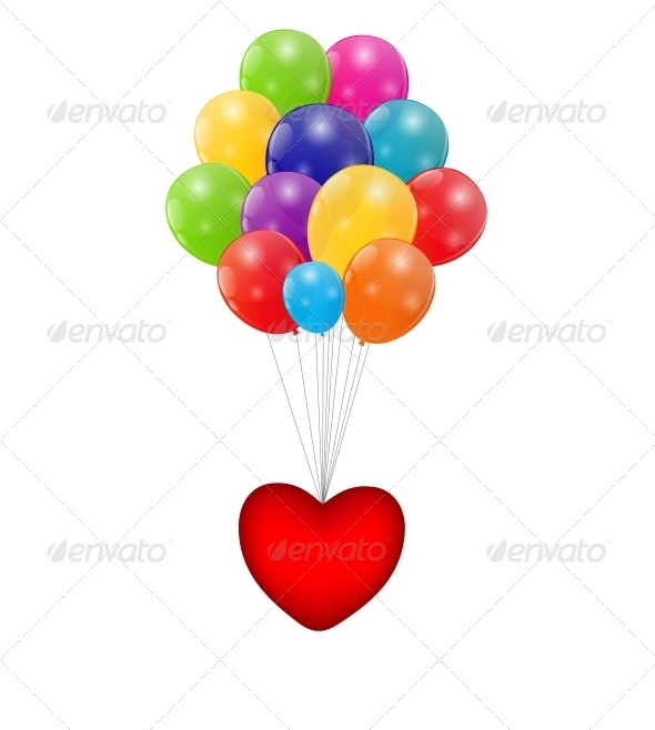 Color Glossy Balloons with Heart Background - Birthdays Seasons/Holidays