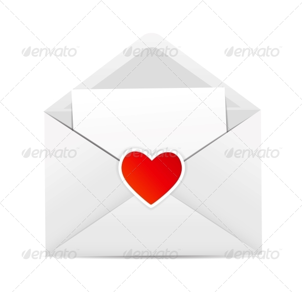 Valentine`s Day Card with Envelope and Heart  - Valentines Seasons/Holidays