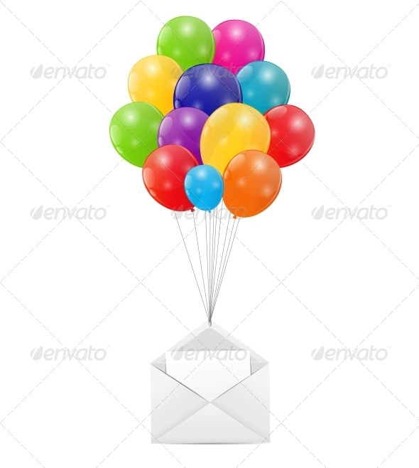 Envelope with Balloons Vector Illustration - Valentines Seasons/Holidays