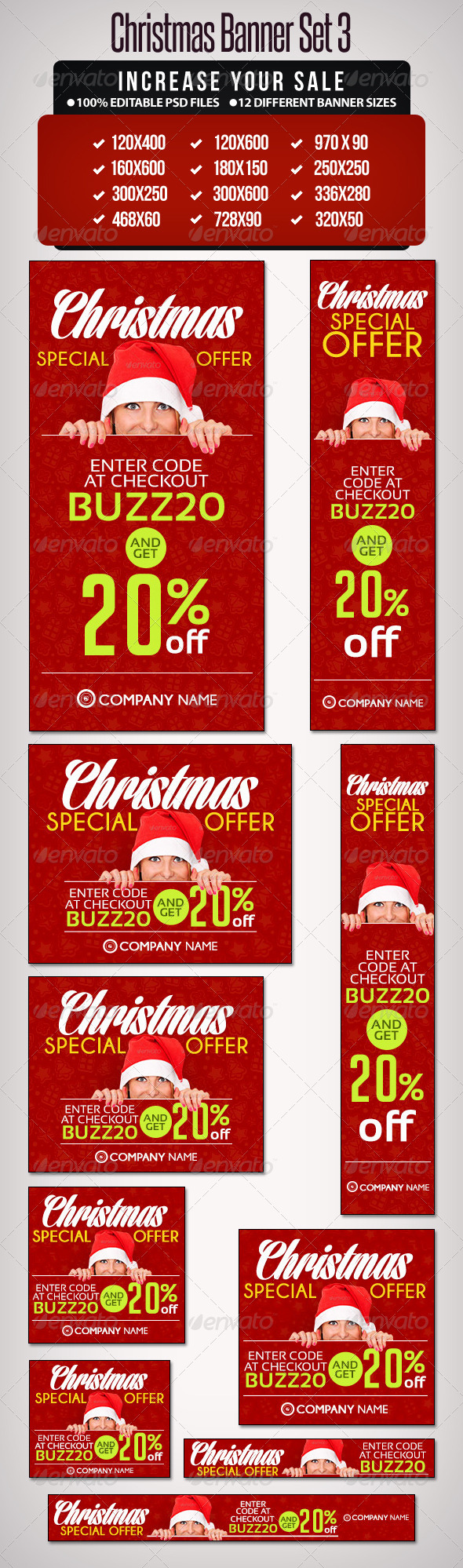 Christmas Banner Set 3 - 12 Sizes - Banners & Ads Web Elements