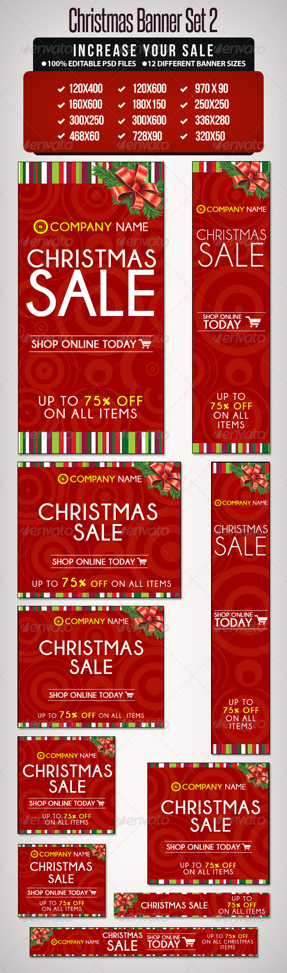 Christmas Banner Set 2 - 12 Sizes - Banners & Ads Web Elements