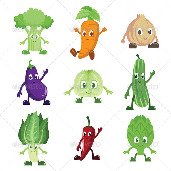 Vegetables characters - Organic Objects Objects