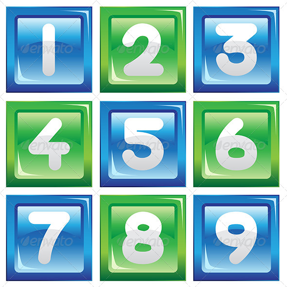 Numbers Icon Set - Objects Vectors
