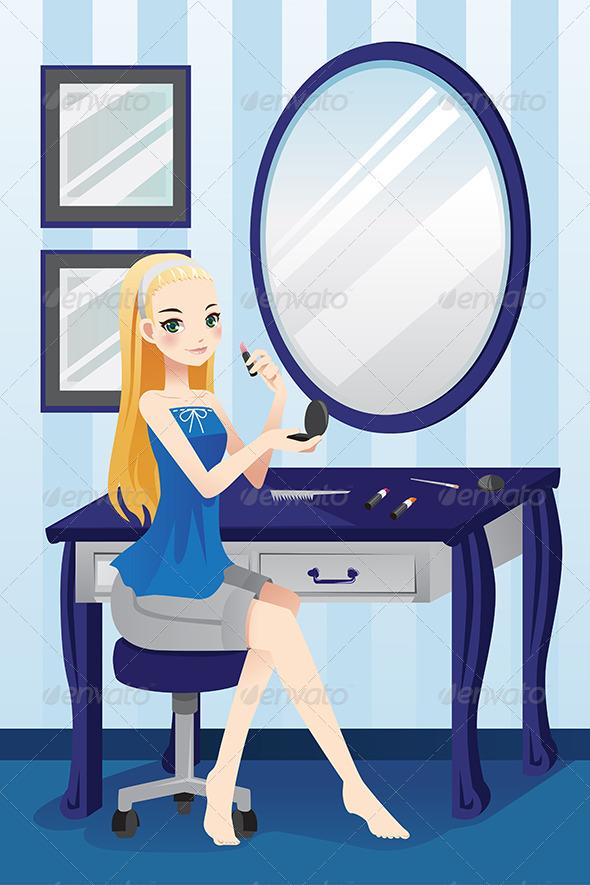 Girl Applying Makeup - People Characters