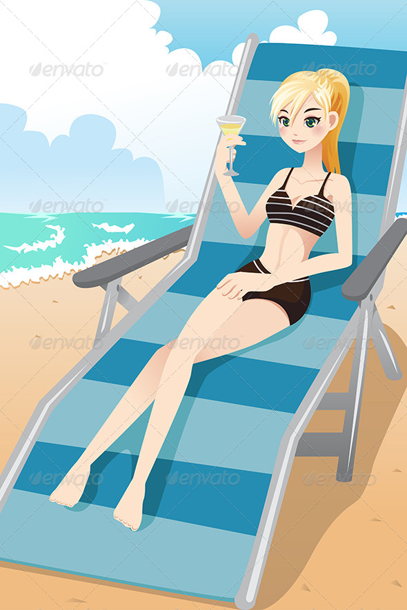 Girl Relaxing on the Beach - People Characters