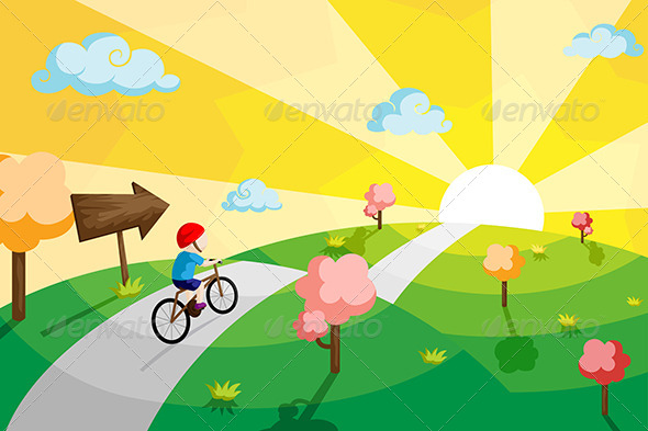 Kid Riding Bicycle - People Characters