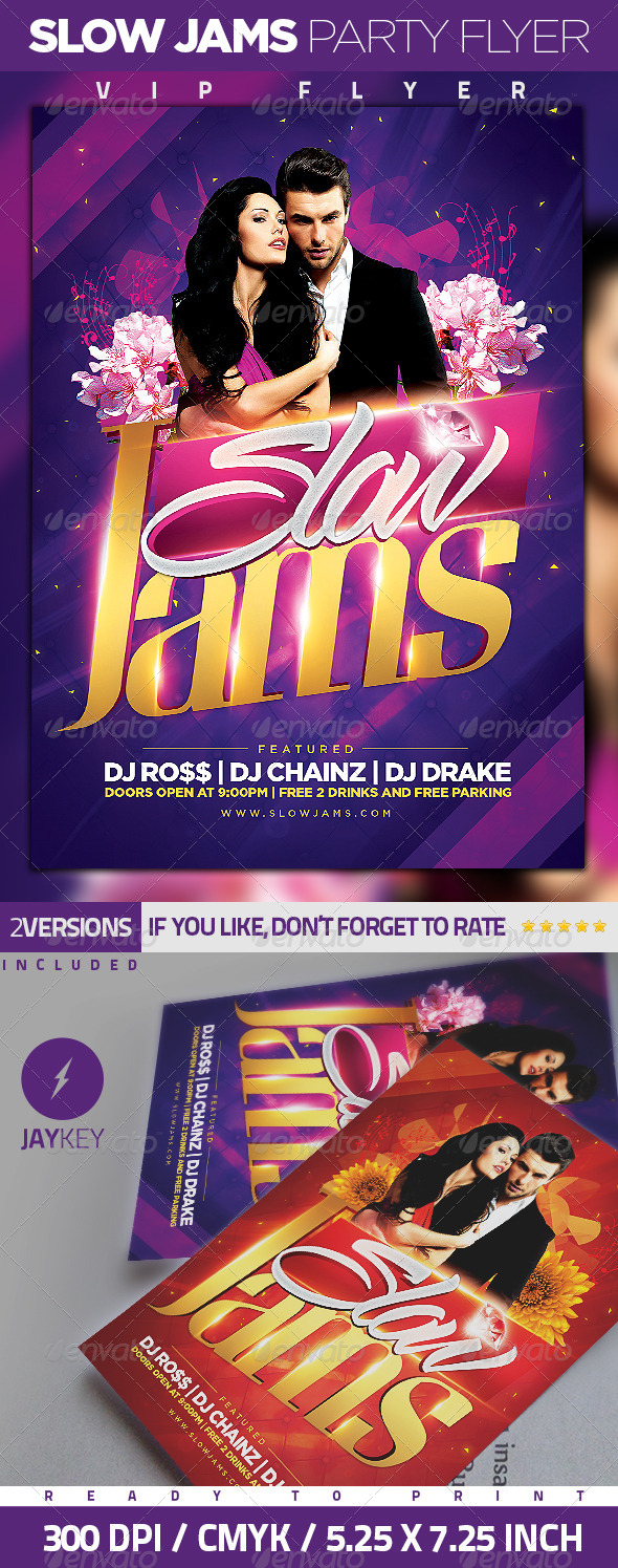 Slow Jams Party Flyer - Clubs & Parties Events