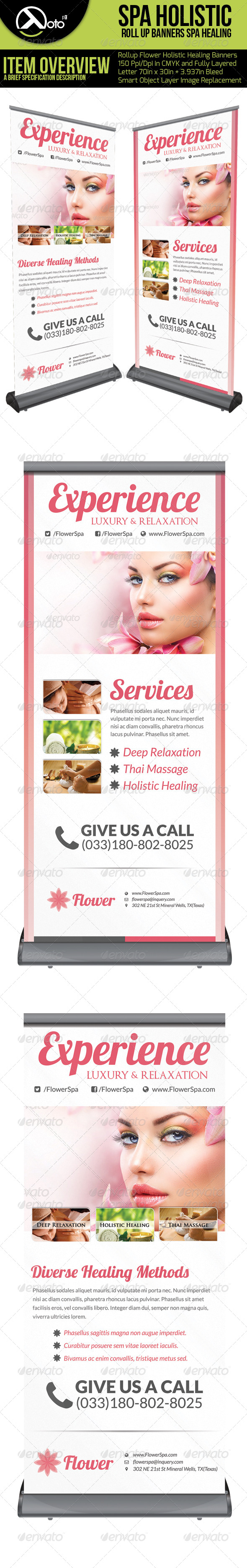 Flower Holistic Healing Roll Up Banners - Signage Print Templates