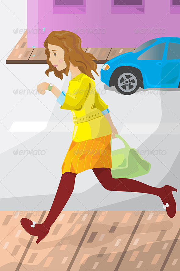 Businesswoman Late for Work - Business Conceptual