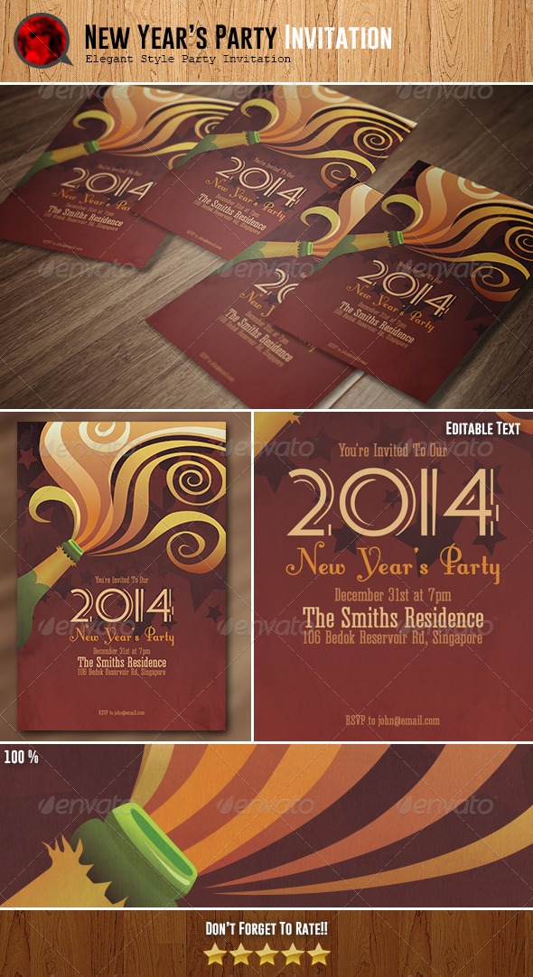 New Year's Party Invitation - Invitations Cards & Invites