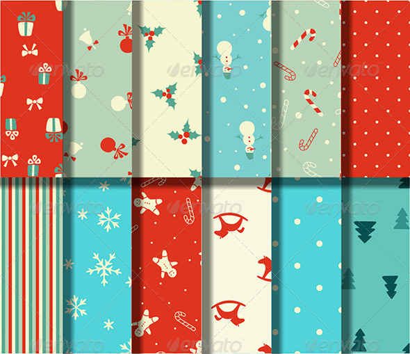 Set of 12 Christmas Seamless Patterns - Patterns Decorative