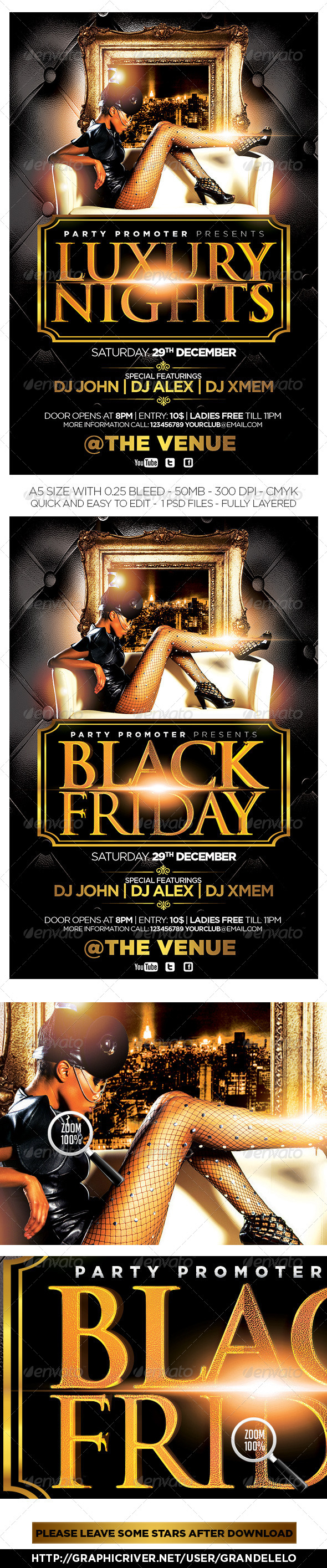 Luxury Nights / Black Friday Flyer  - Clubs & Parties Events