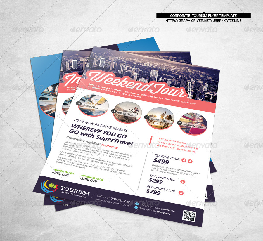 World Travel Tourism Flyer Template By Katzeline Graphicriver