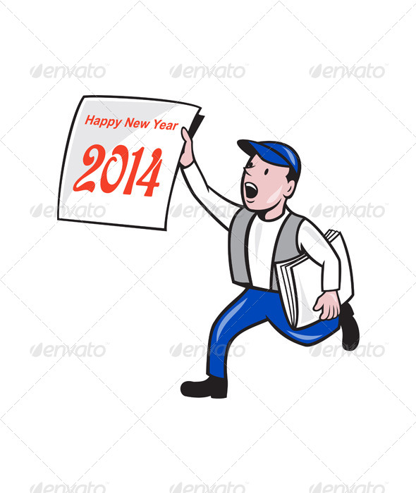 New Year 2014 Newspaper Boy Showing Sign Cartoon - People Characters